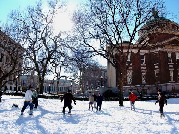 Columbia Students In Snow
