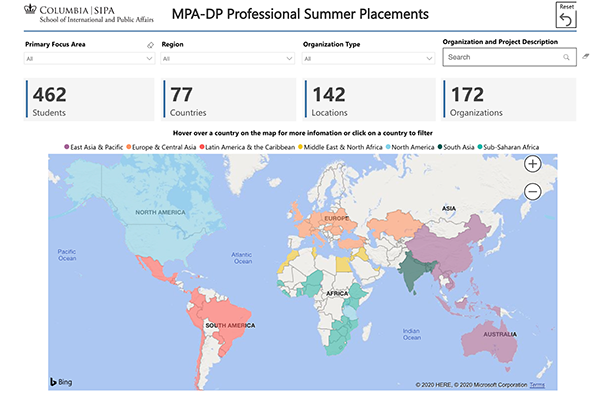 MPA-DP Professional Summer Placements Map