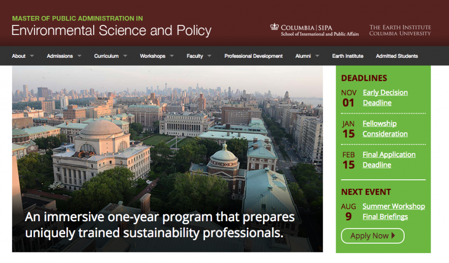 MPA in Environmental Science and Policy Website