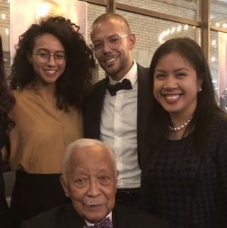David N. Dinkins with students, ca. 2017.